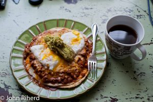 Dish of chili and eggs