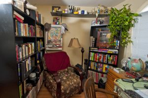Another photo inside my office. More books, knick-knacks, and my recliner.